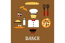 Baker and kitchenware icons