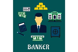 Banker profession and ecomony icons