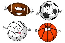 Soccer, rugby, volleyball basketball