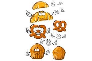 Baked cake, croissant, pretzel