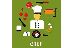 Chef profession and food icons