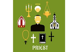 Priest profession and religion icons