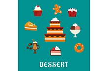 Sweet desserts, bakery and pastry