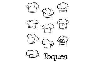 Chef and baker hats or toques