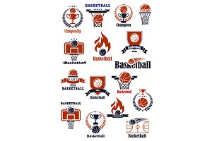 Basketball game sport icons  symbols