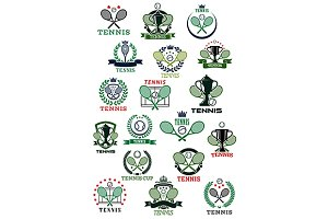 Tennis game icons and symbols