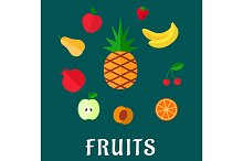 Fruits set with flat icons