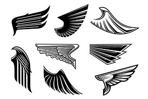 Black eagle or falcon heraldic wings