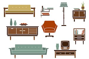 Living room and furniture flat icons