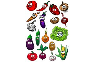 Fresh and ripe cartoon vegetables
