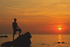 Man on Sunset Beach