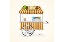Coffee Market Cart. Vector