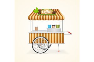 Coffee Market Cart. Vector