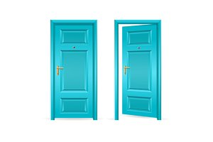 Blue and Green Door Open and Closed.