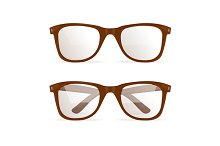 Glasses Brown Hipster. Vector