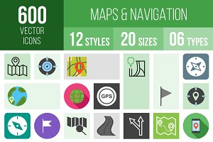 600 Maps & Navigation Icons