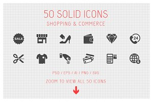 50 Shopping Solid Icons