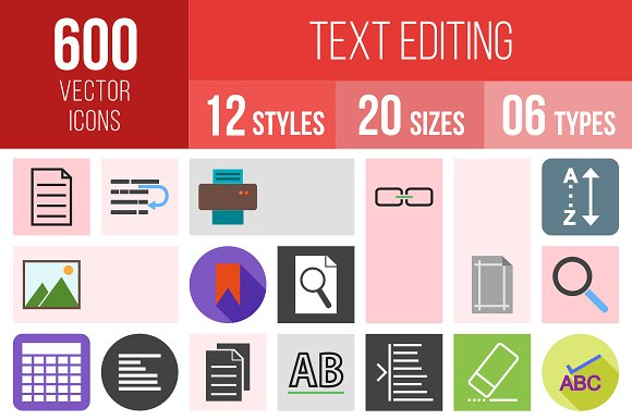 600 Text Editing Icons