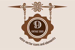 9 Vintage Vector Signs & Labels