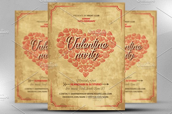 Vintage Valentine Party Flyer