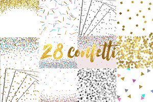 Gold, silver and colored confetti
