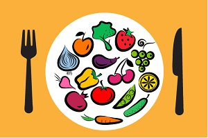 fruits and vegetables illustrations