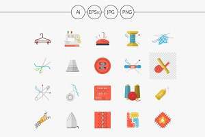 Sewing flat color vector icons set