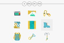 Mountaineering outfit flat icons
