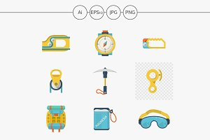 Alpinism outfit flat vector icons