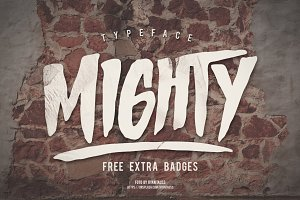 MIGHTY Typeface + Extra Badges