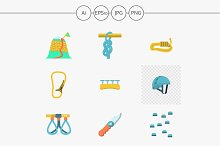 Rock climbing flat vector icons