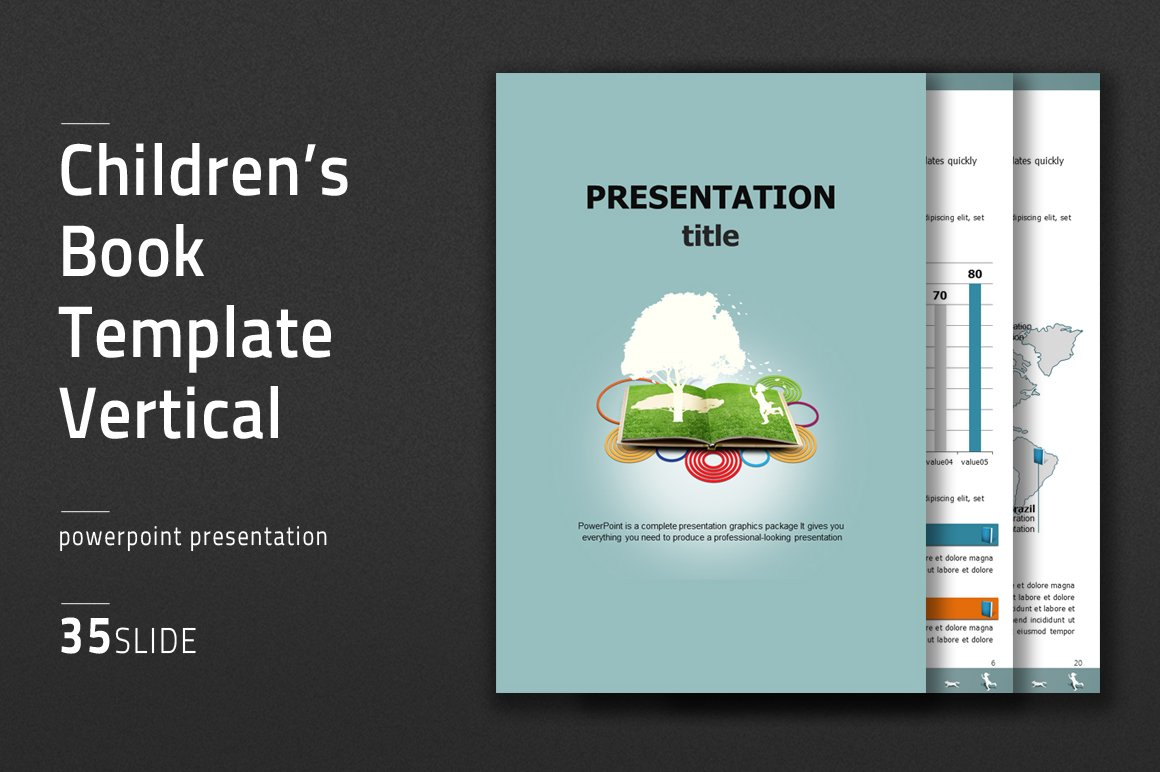 children's book template vertical ~ presentation templates