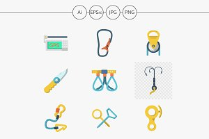 Equipment for rock climbing icons