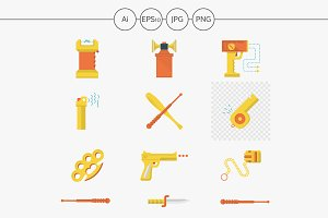 Self-defense devices vector icons