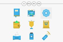 Creative gifts flat vector icons