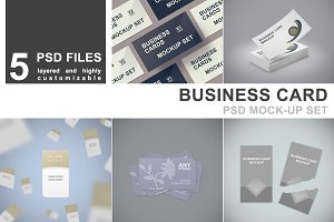Business Card Mockup Set - 5 PSD