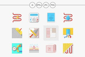 Heated floor flat vector icons