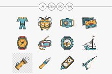 Sea vacation flat color vector icons