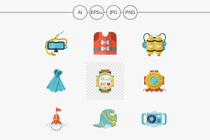 Flat style diving vector icons