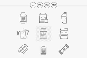 Sport nutrition line vector icons