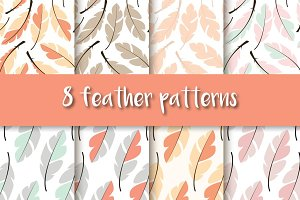 8 seamless feather patterns