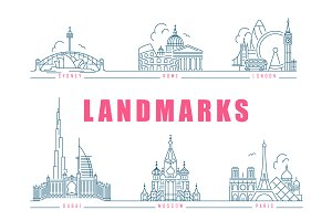 Famous landmarks. Line style icons