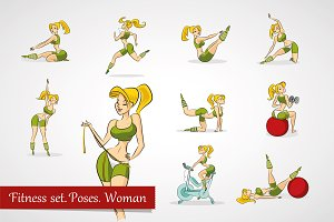 Fitness set. Poses. Women.