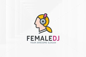Female DJ Logo Template