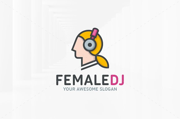 female dj logo template logo templates creative market