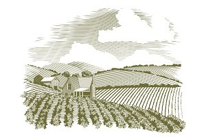 Woodcut Rural Farm House