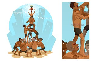 Janmashtami Dahi Handi Illustration