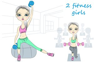Two fitness girls set