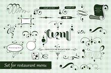 Calligraphic set for restaurant menu