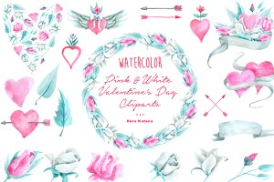Pink & White Watercolor Cliparts
